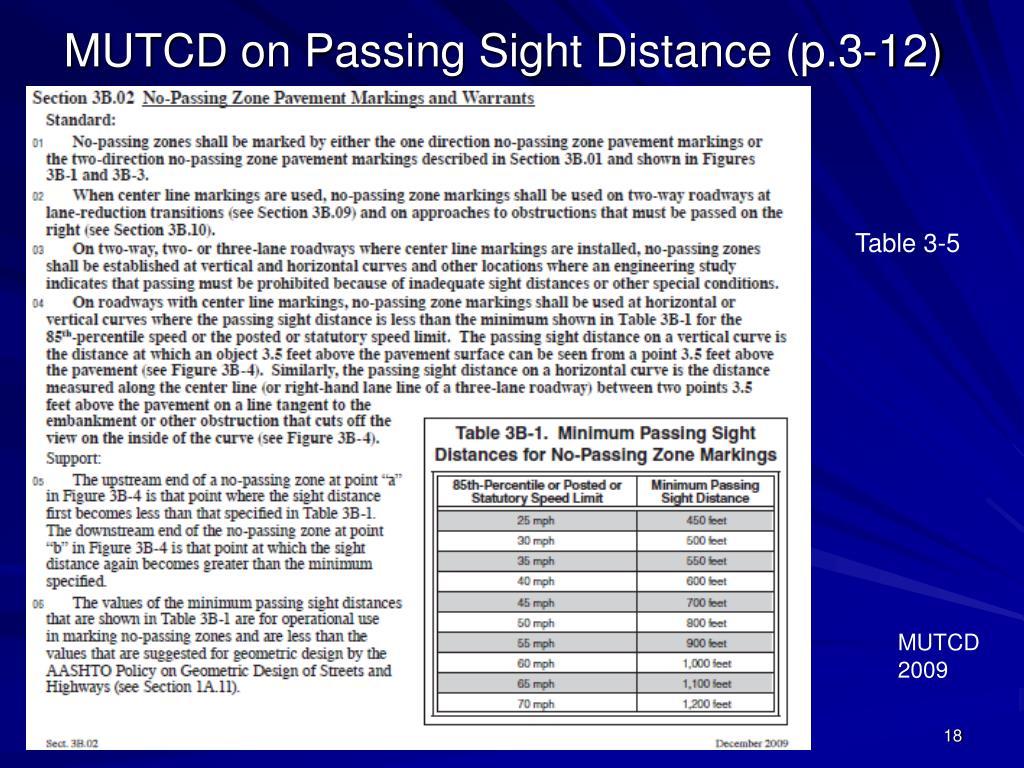 MUTCD on Passing Sight Distance (p.3-12)