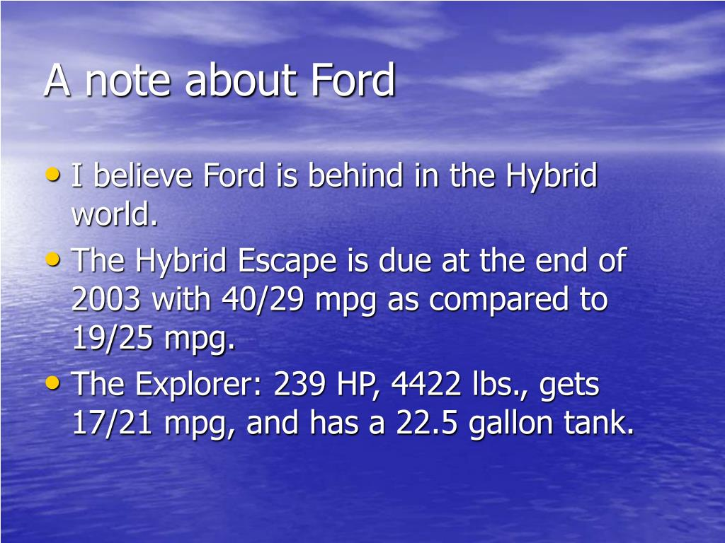A note about Ford