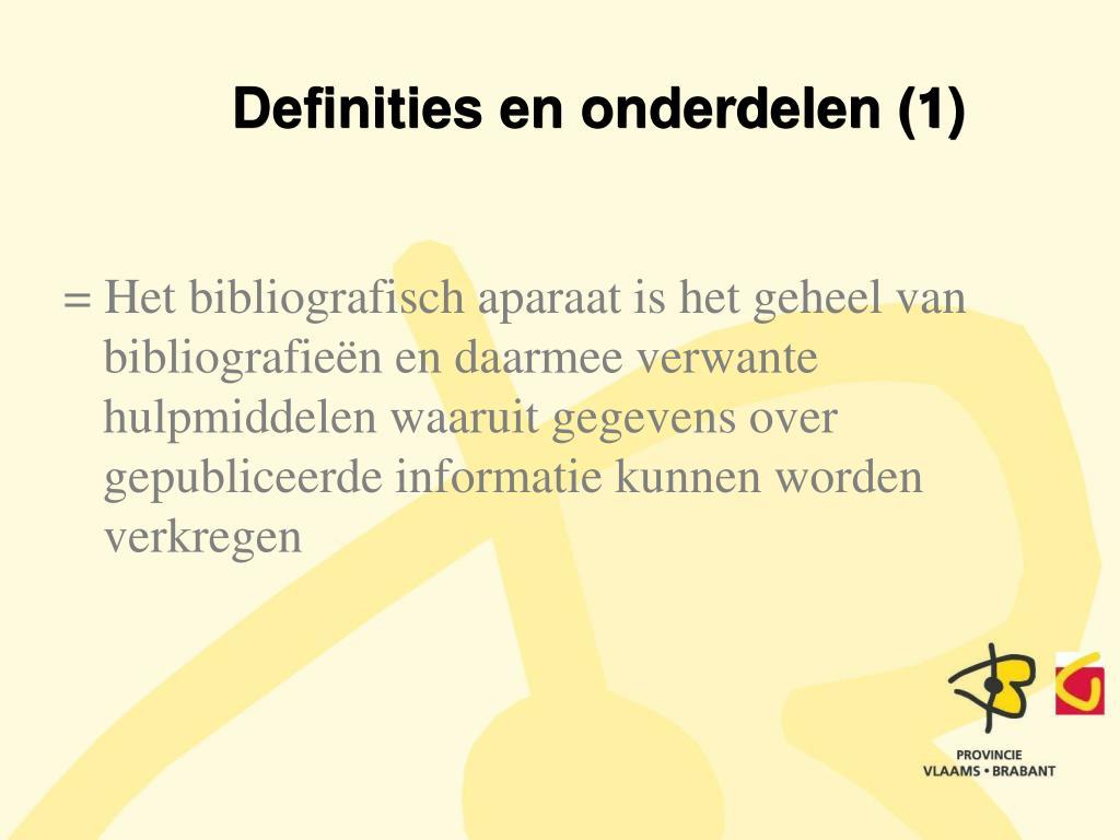 Definities en onderdelen (1)