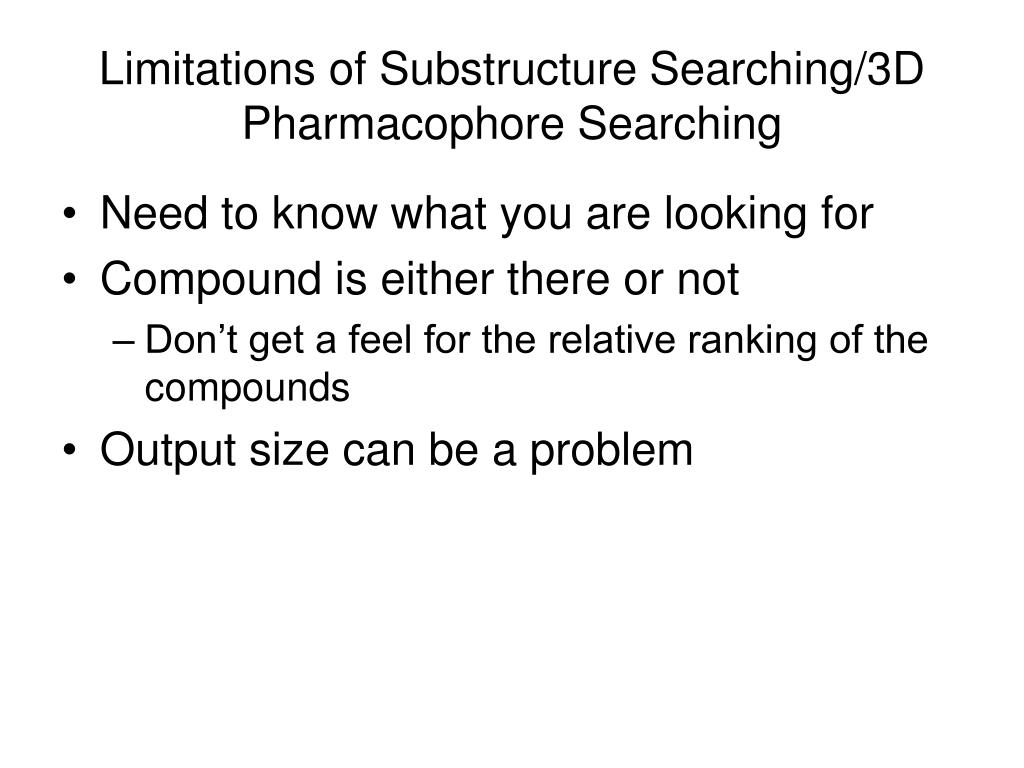 Limitations of Substructure Searching/3D Pharmacophore Searching
