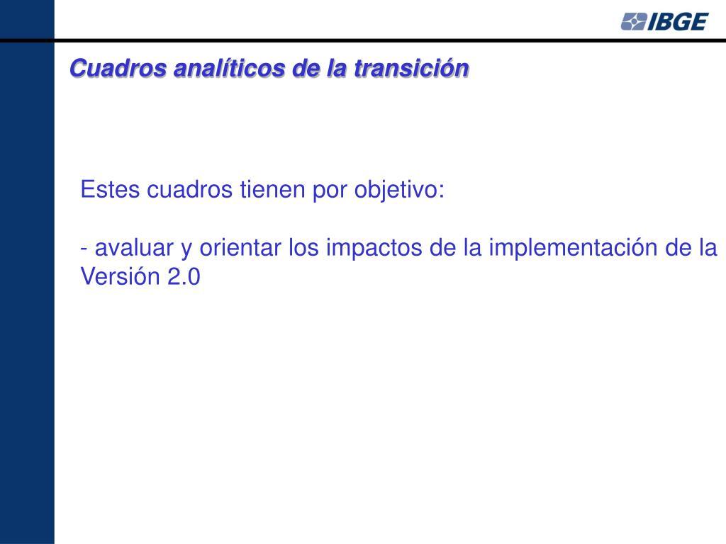 Cuadros analíticos de la transición