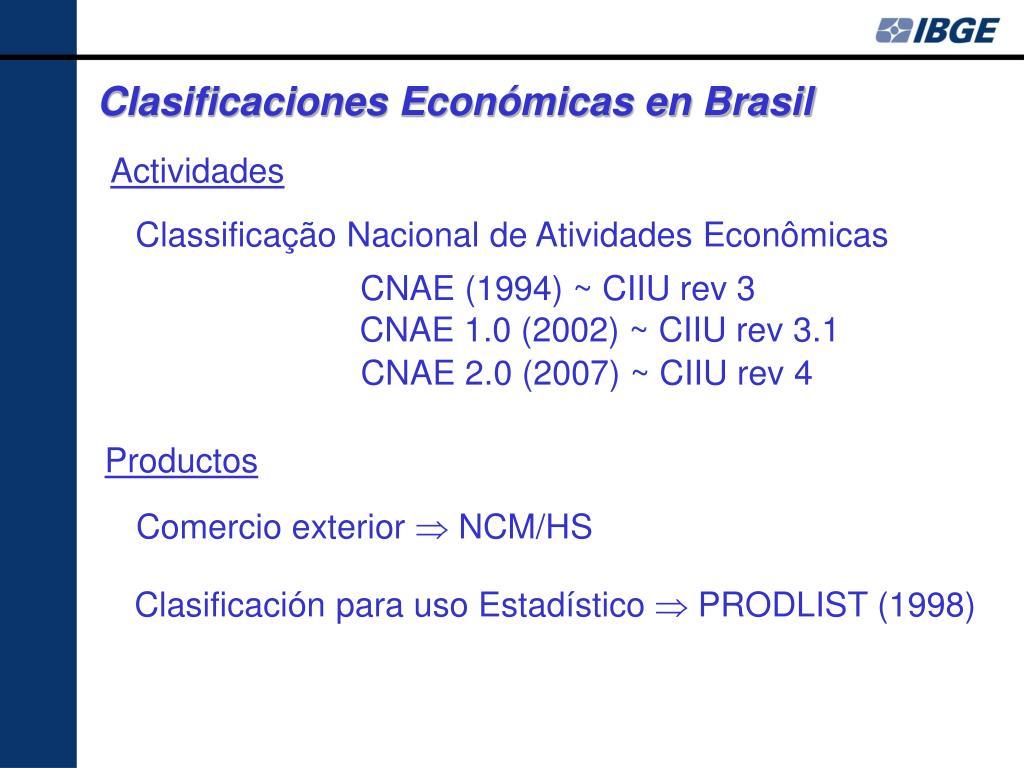 Clasificaciones Económicas en Brasil