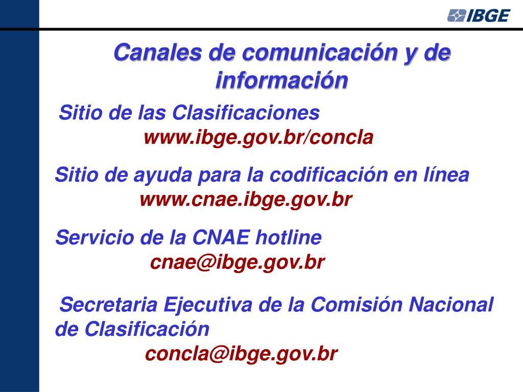 Canales de comunicación y de información