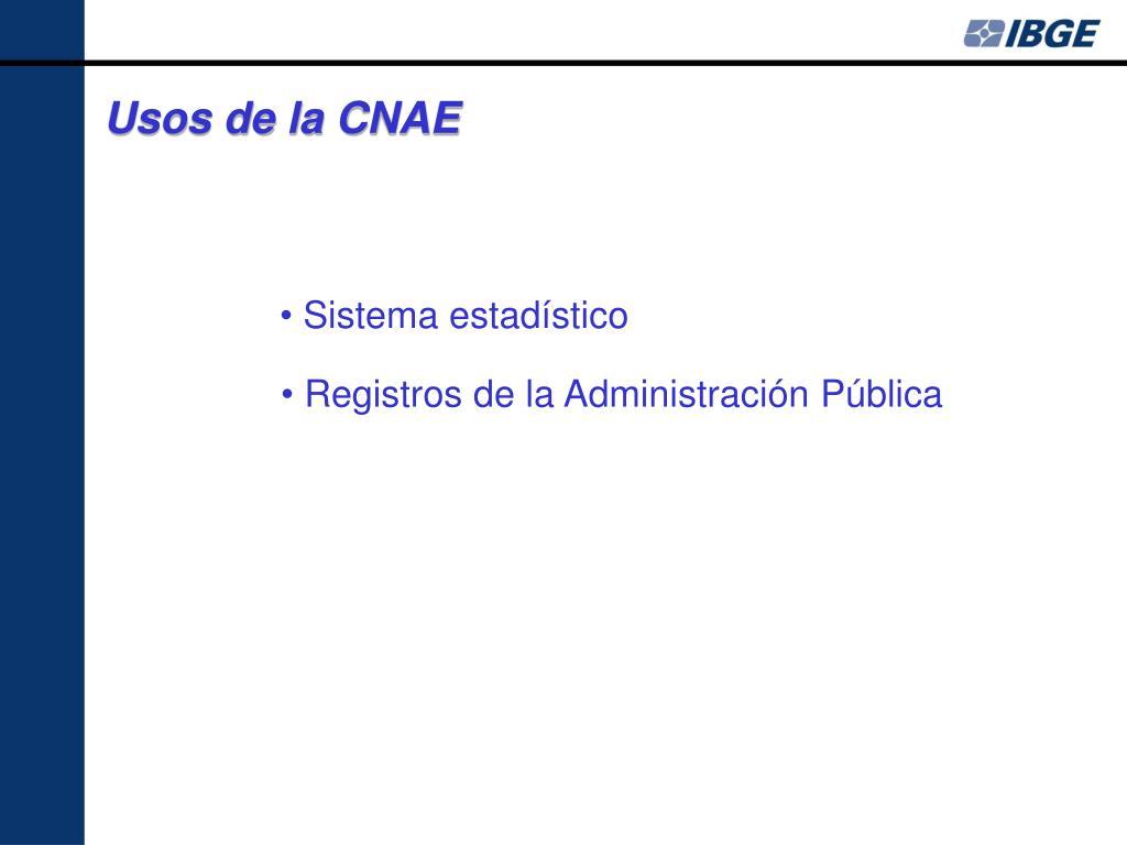 Usos de la CNAE