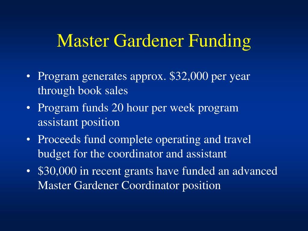 Master Gardener Funding