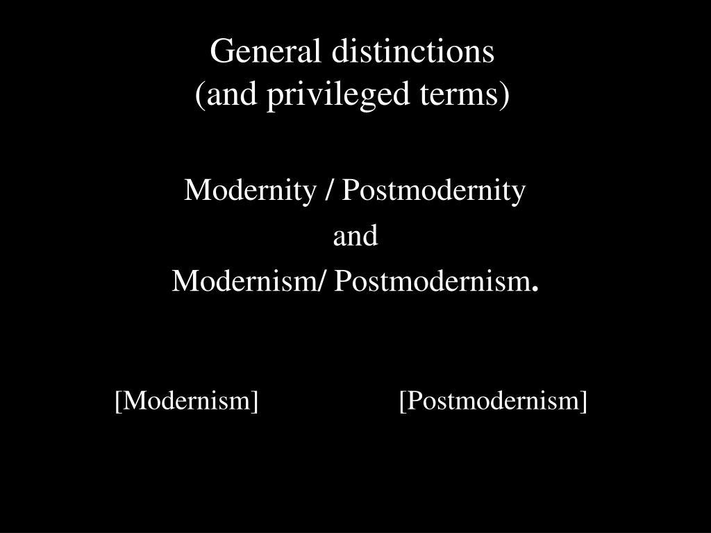 General distinctions