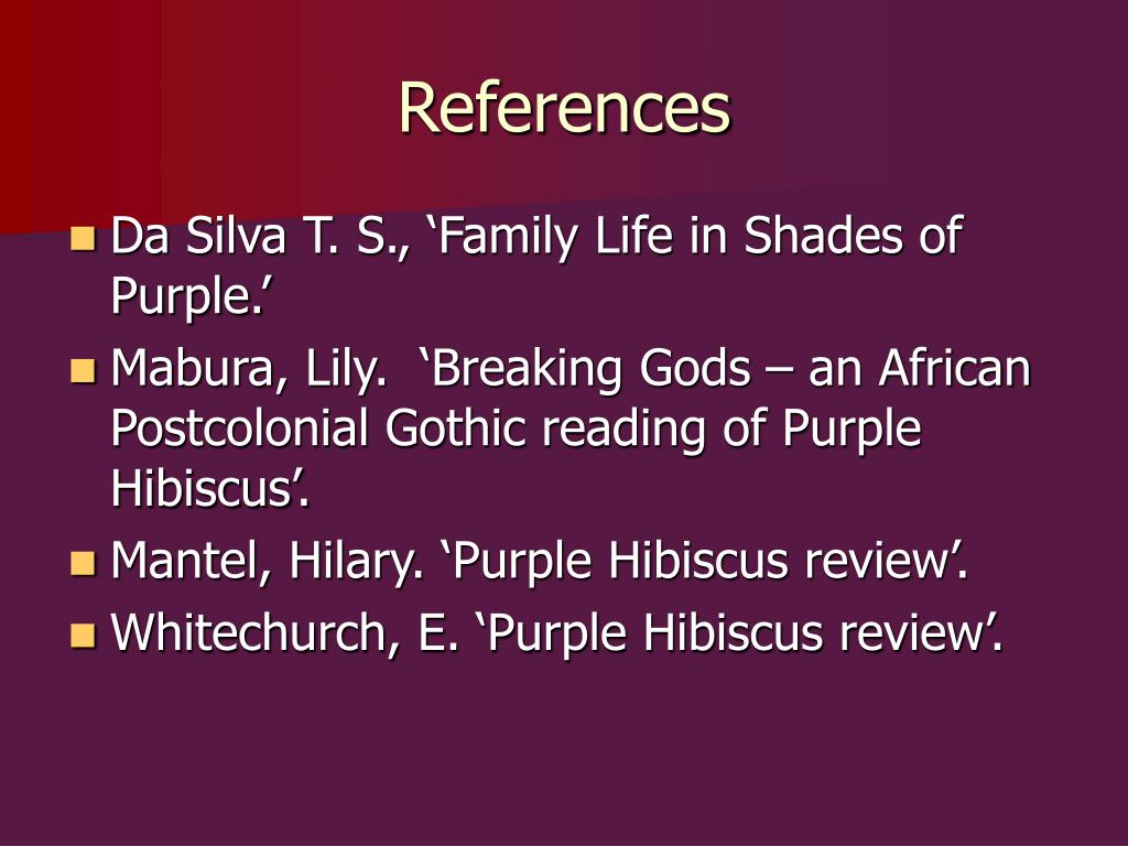 purple hibiscus literature essay Keywords: the purple hibiscus essay, literary analysis purple hibiscus purple hibiscus is the first novel of the writer chimanda ngozi adichie the novel was published in 2003, it got a lot of attention in terms of prestigious prizes.
