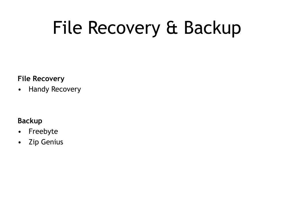 File Recovery & Backup
