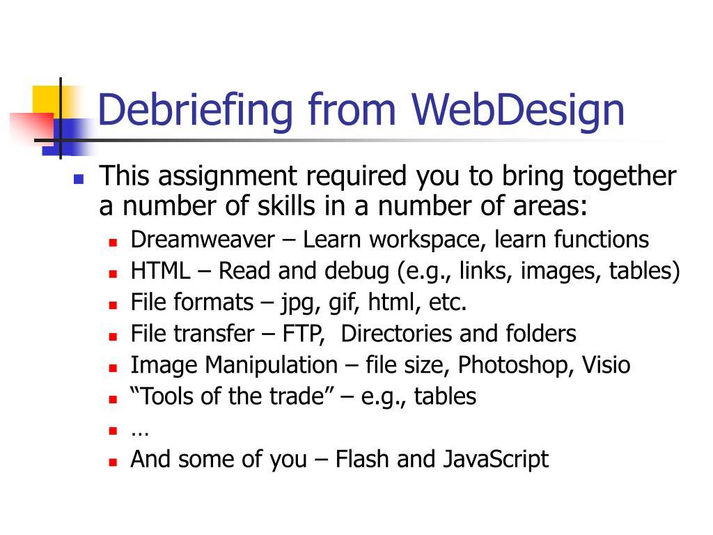 Debriefing from WebDesign
