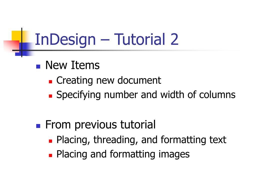 InDesign – Tutorial 2