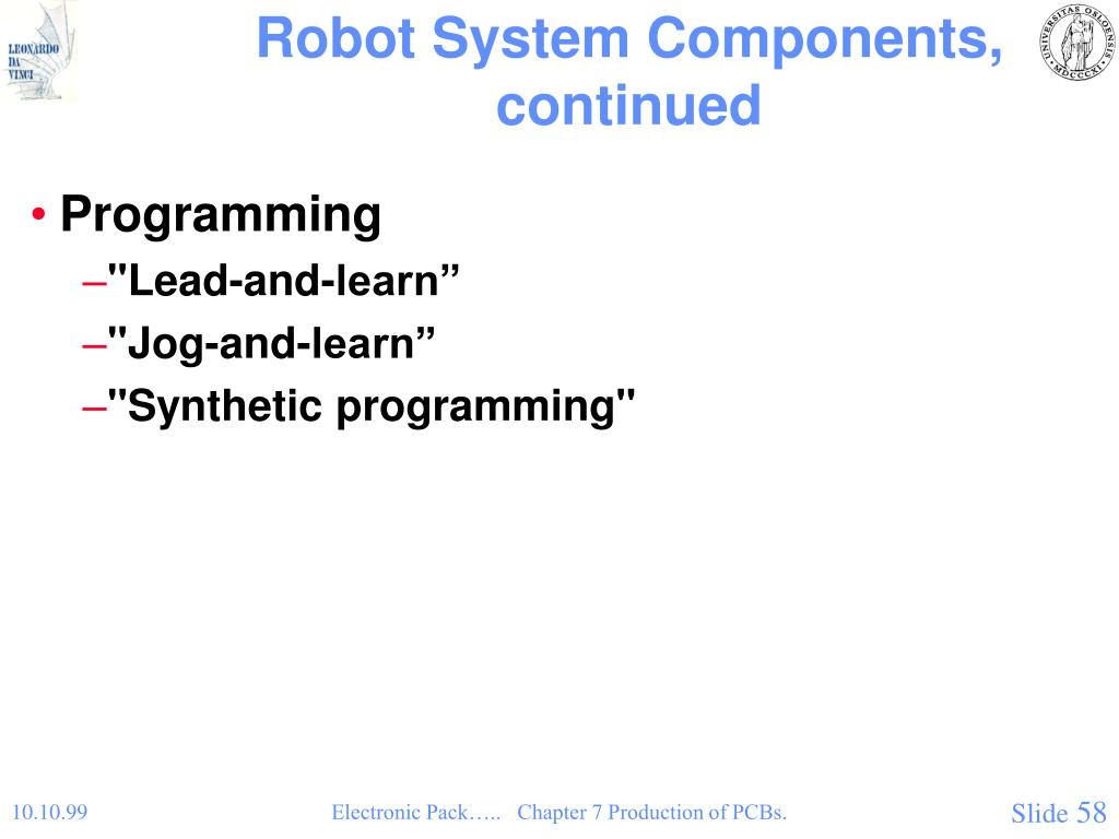 Robot System Components, continued