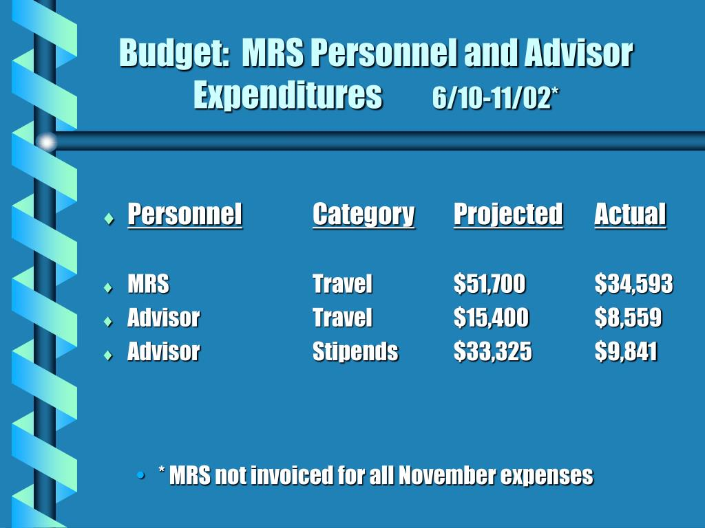Budget:  MRS Personnel and Advisor Expenditures