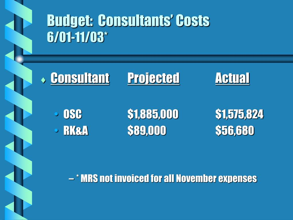 Budget:  Consultants' Costs