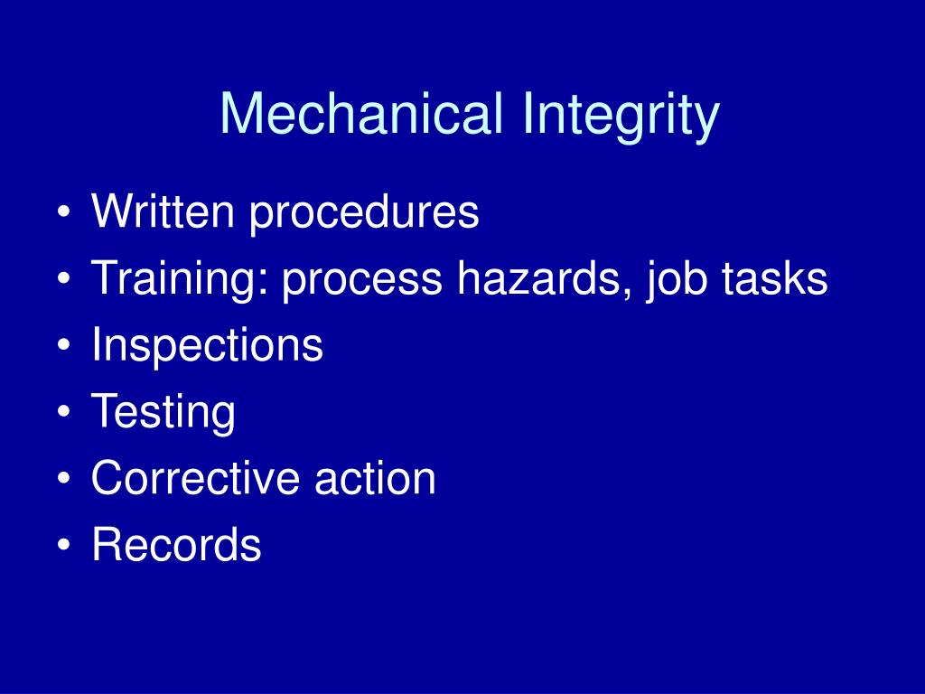 Mechanical Integrity