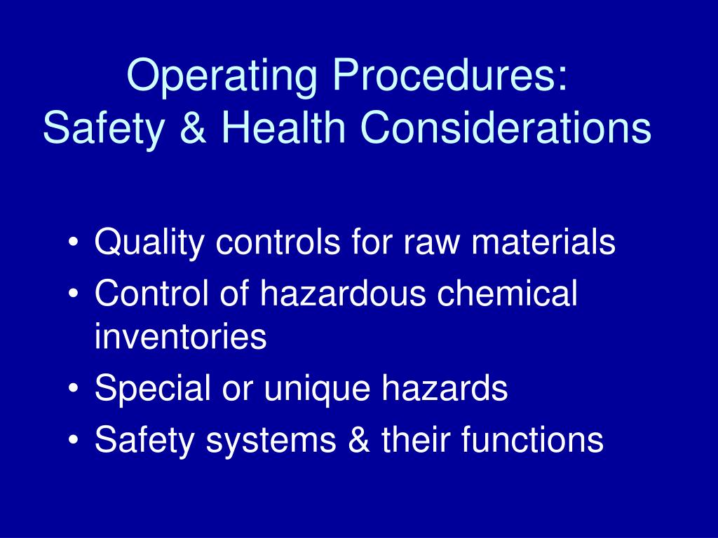 Operating Procedures: