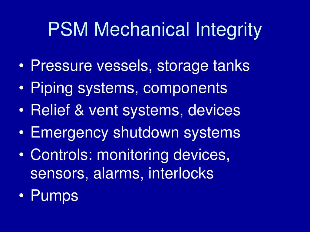 PSM Mechanical Integrity