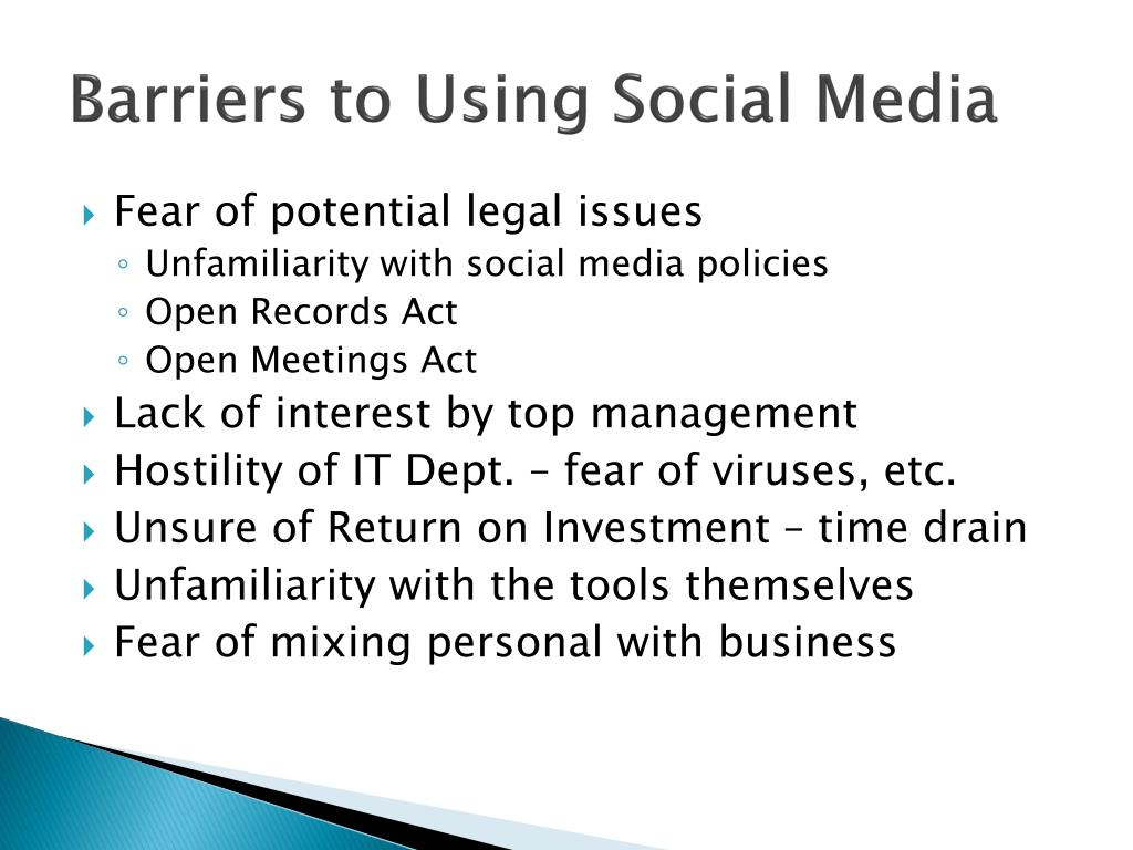 Barriers to Using Social Media