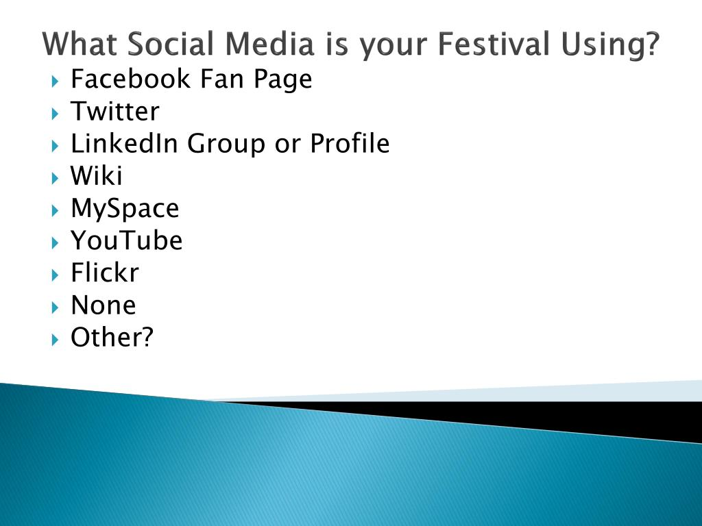 What Social Media is your Festival Using?