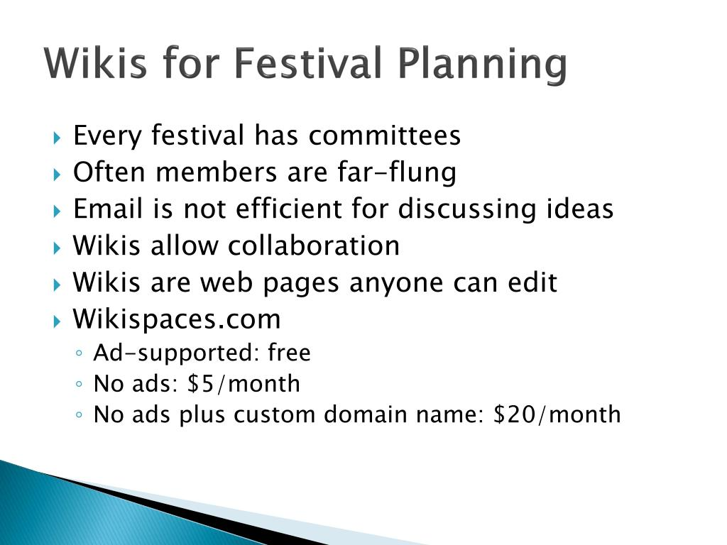 Wikis for Festival Planning
