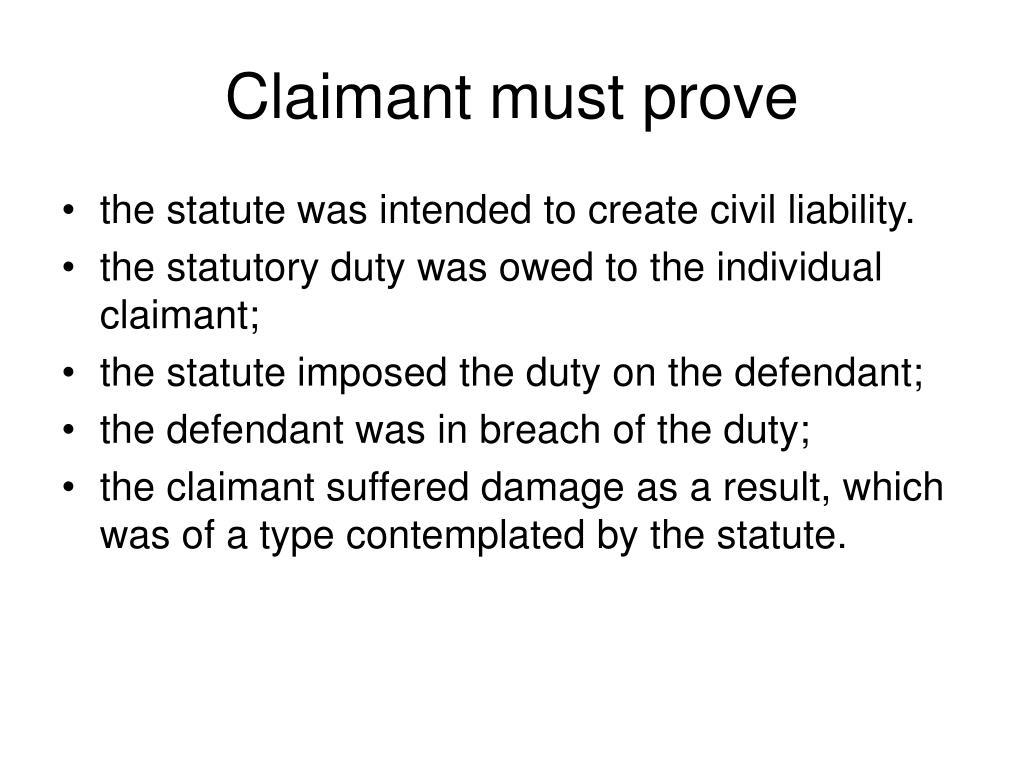 Claimant must prove