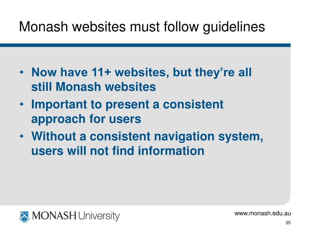 Monash websites must follow guidelines