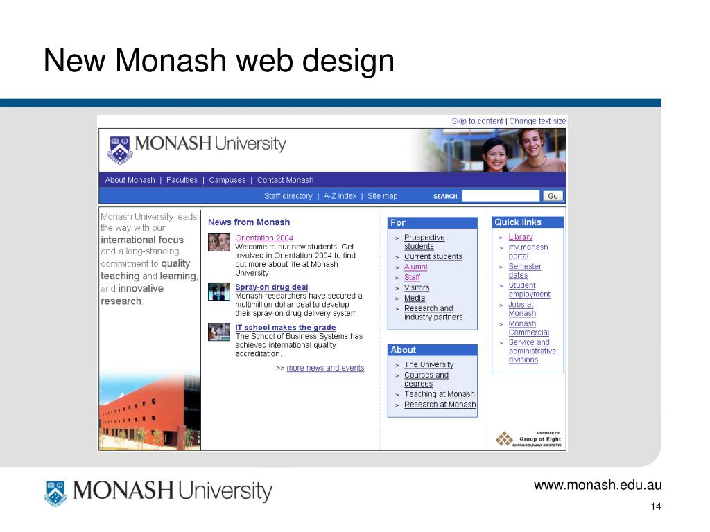 New Monash web design