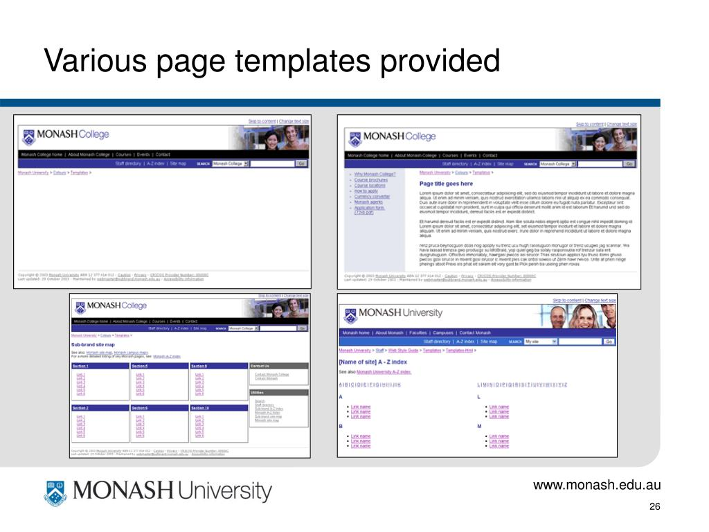 Various page templates provided