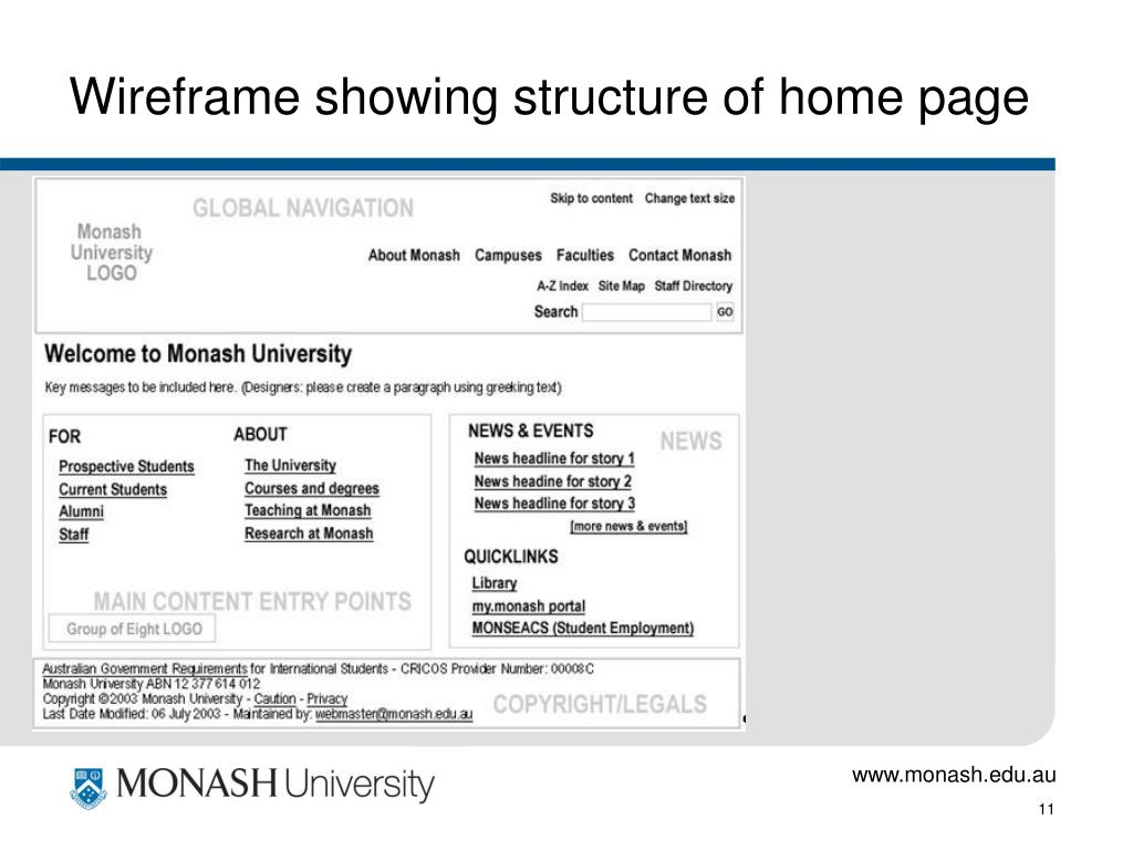 Wireframe showing structure of home page