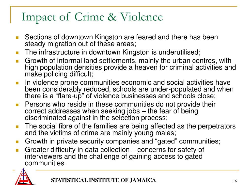 the impact of crime and violence in jamaica The heinous execution-style murder of 2-year-old demario whyte in downtown kingston on august 23—along with unleashing a wave a fear, anger, and sorrow across the community—has highlighted the urgent need for a solution to jamaica's epidemic of rampant gang violence authorities believe the.