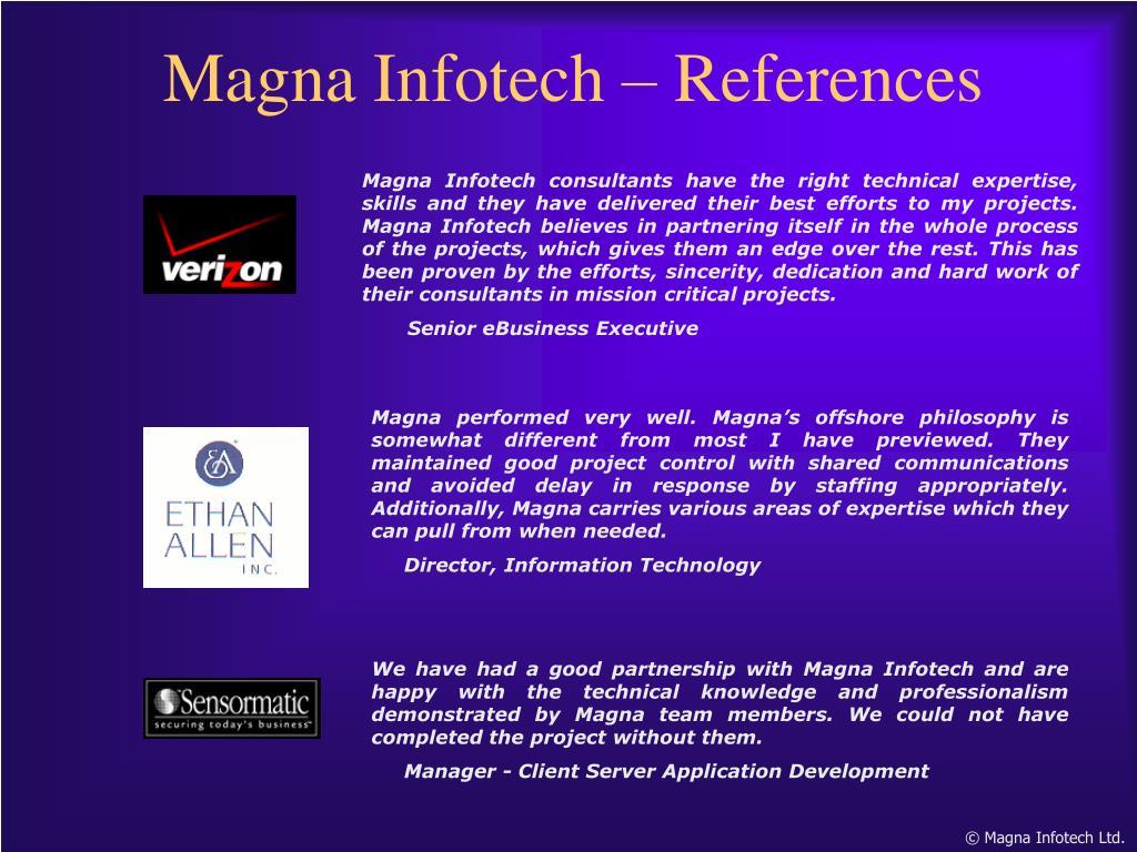 Magna Infotech – References