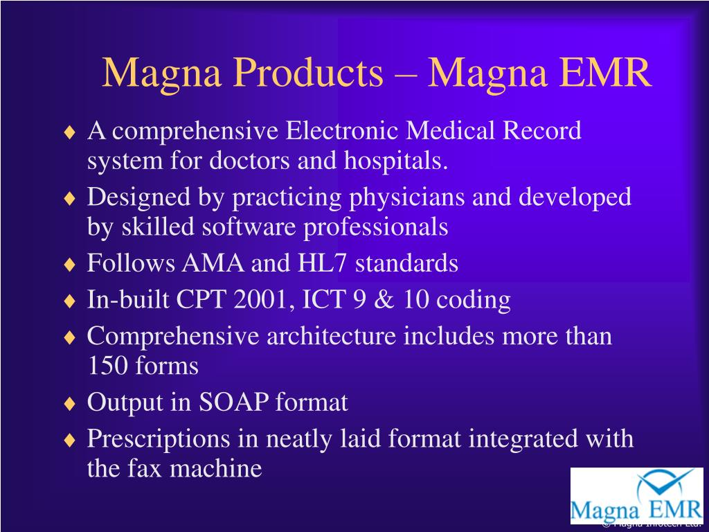 A comprehensive Electronic Medical Record system for doctors and hospitals.
