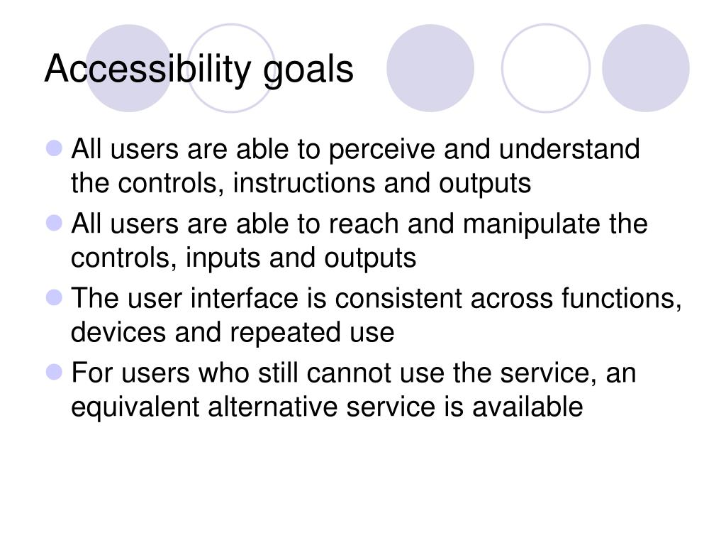 Accessibility goals