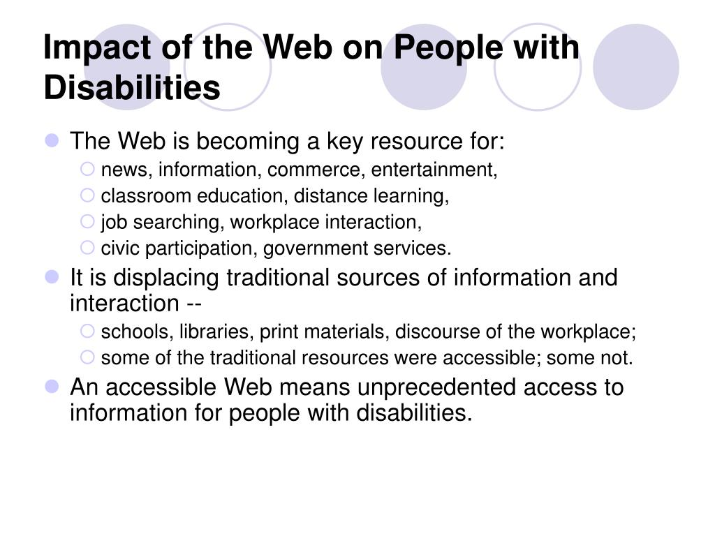 Impact of the Web on People with Disabilities