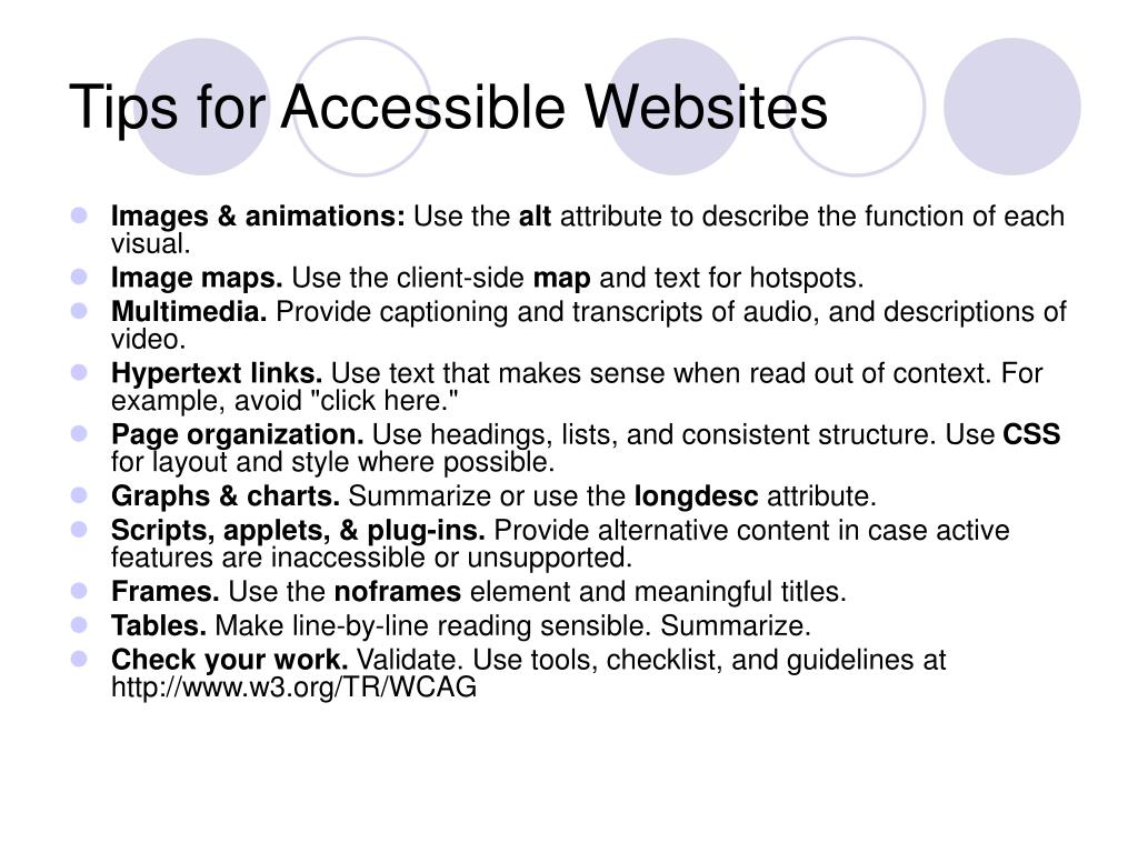 Tips for Accessible Websites