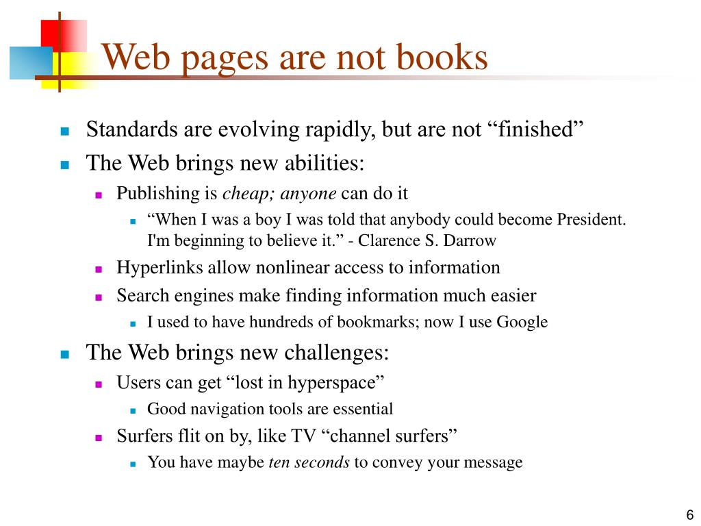 Web pages are not books