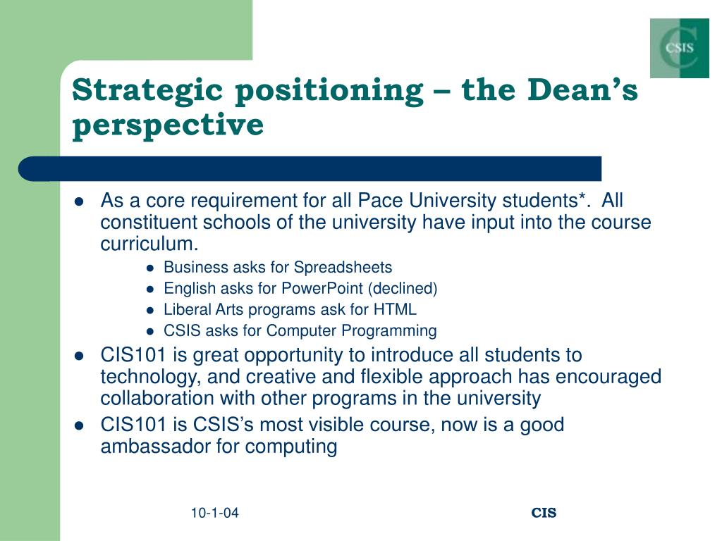 Strategic positioning – the Dean's perspective
