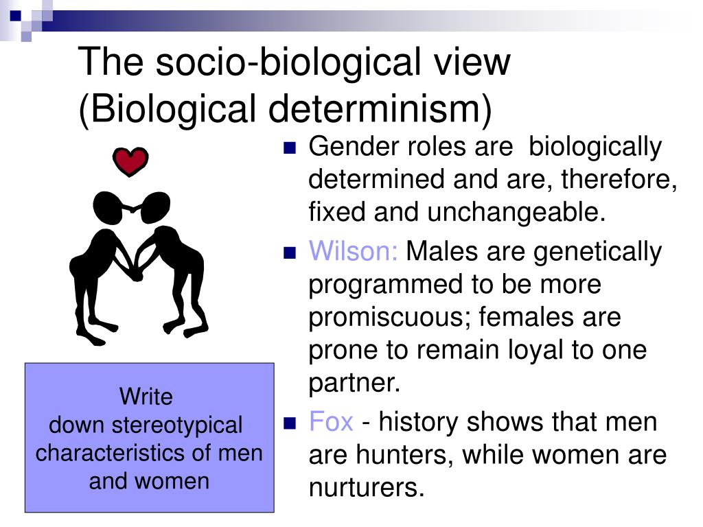 gender biologically determined essay This page is a resource explaining general sociological concepts of sex and gender the examples i cover are focused on experiences of otherness in sociology, we.