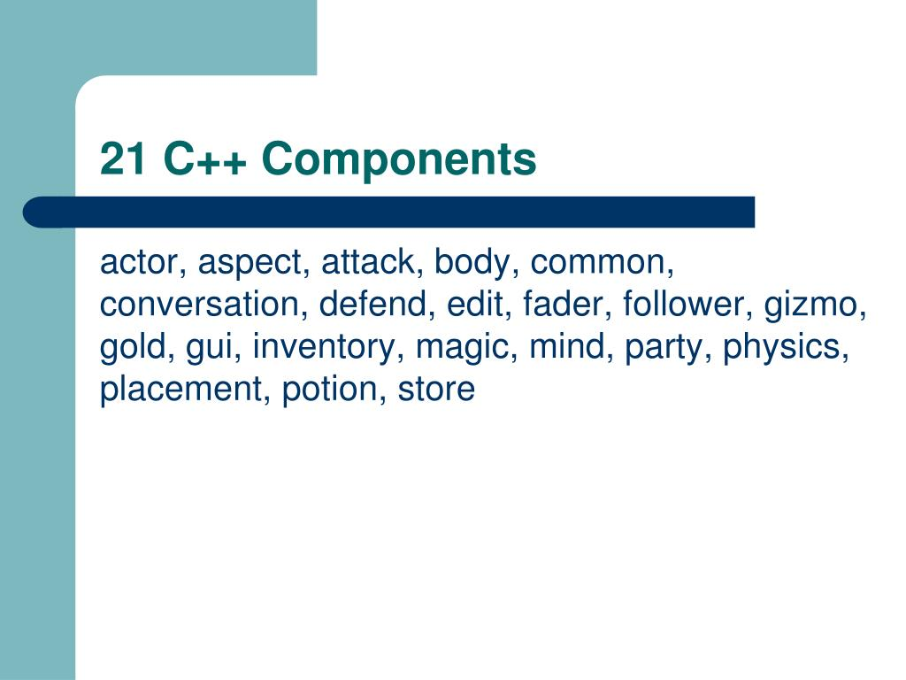 21 C++ Components