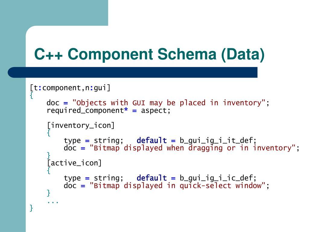 C++ Component Schema (Data)