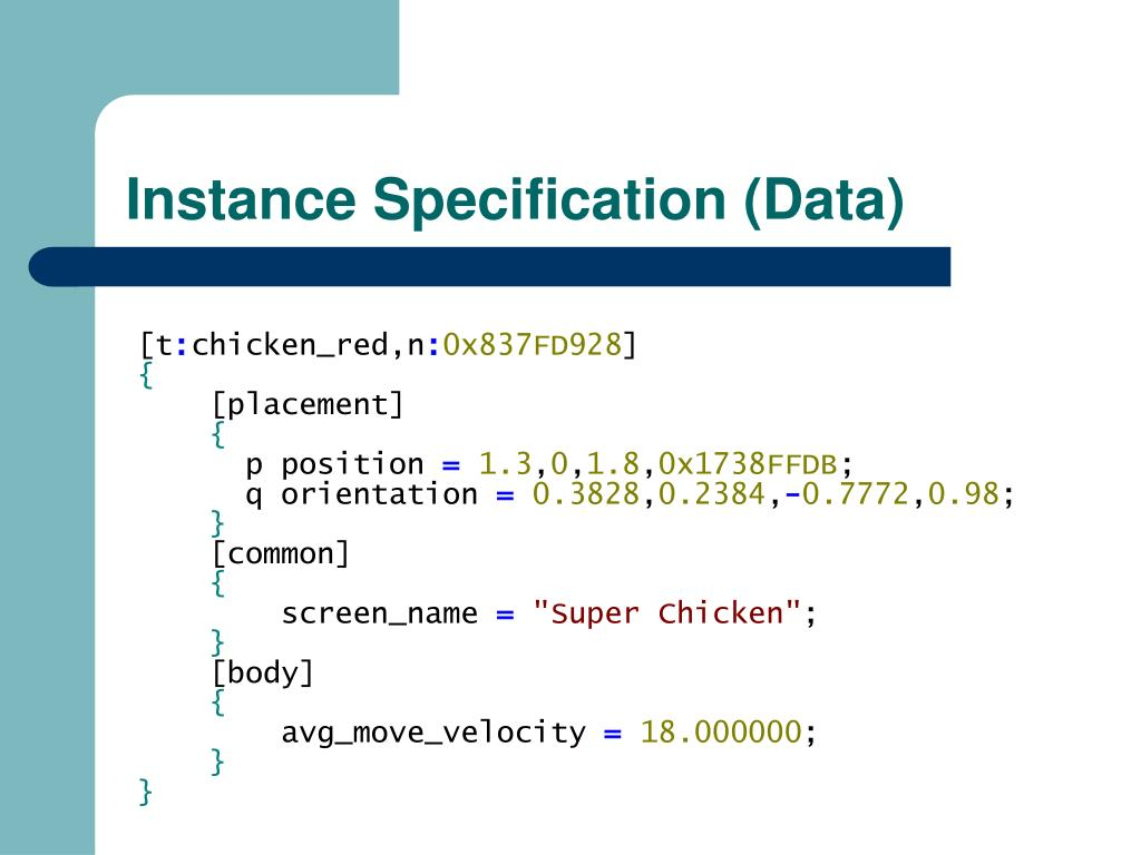 Instance Specification (Data)