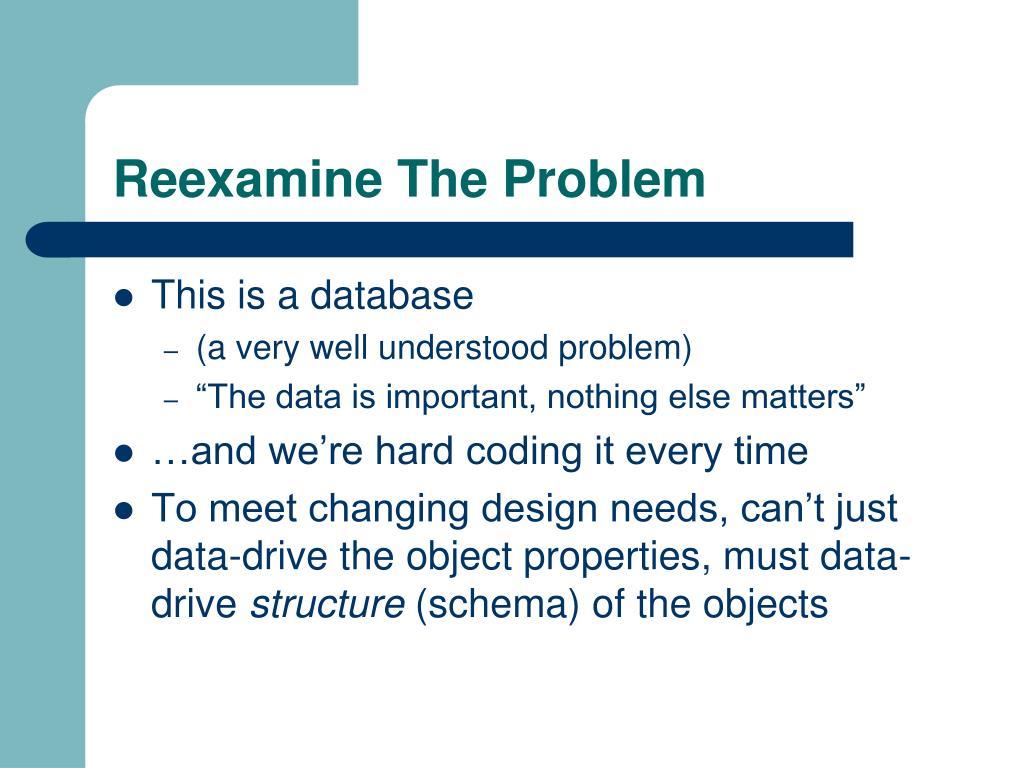 Reexamine The Problem