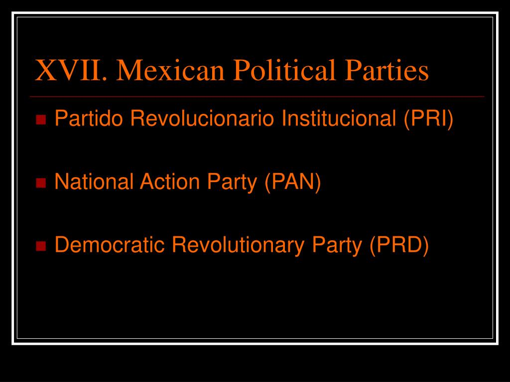 XVII. Mexican Political Parties