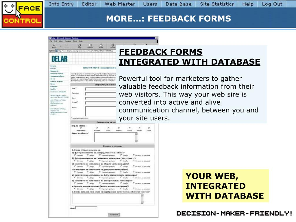 MORE…: FEEDBACK FORMS