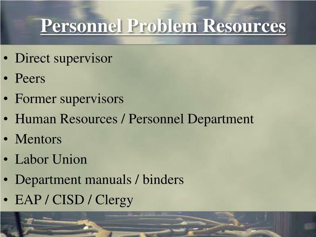 Personnel Problem Resources
