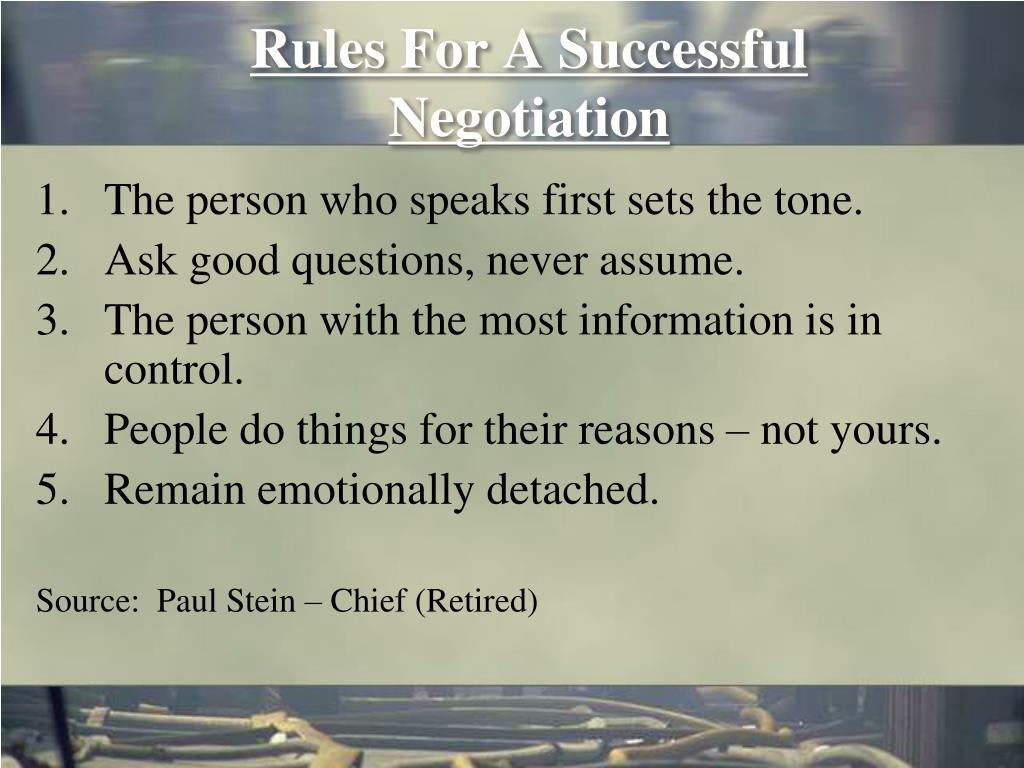 Rules For A Successful Negotiation