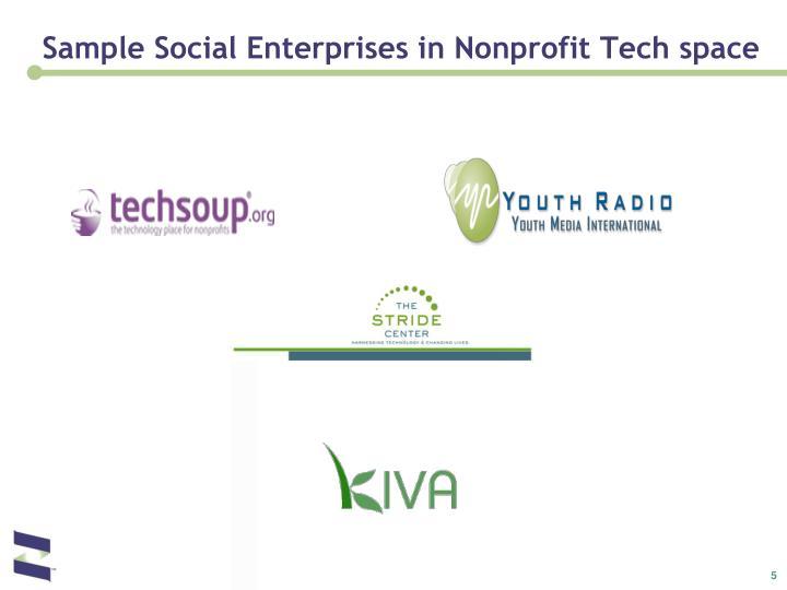 Sample Social Enterprises in Nonprofit Tech space