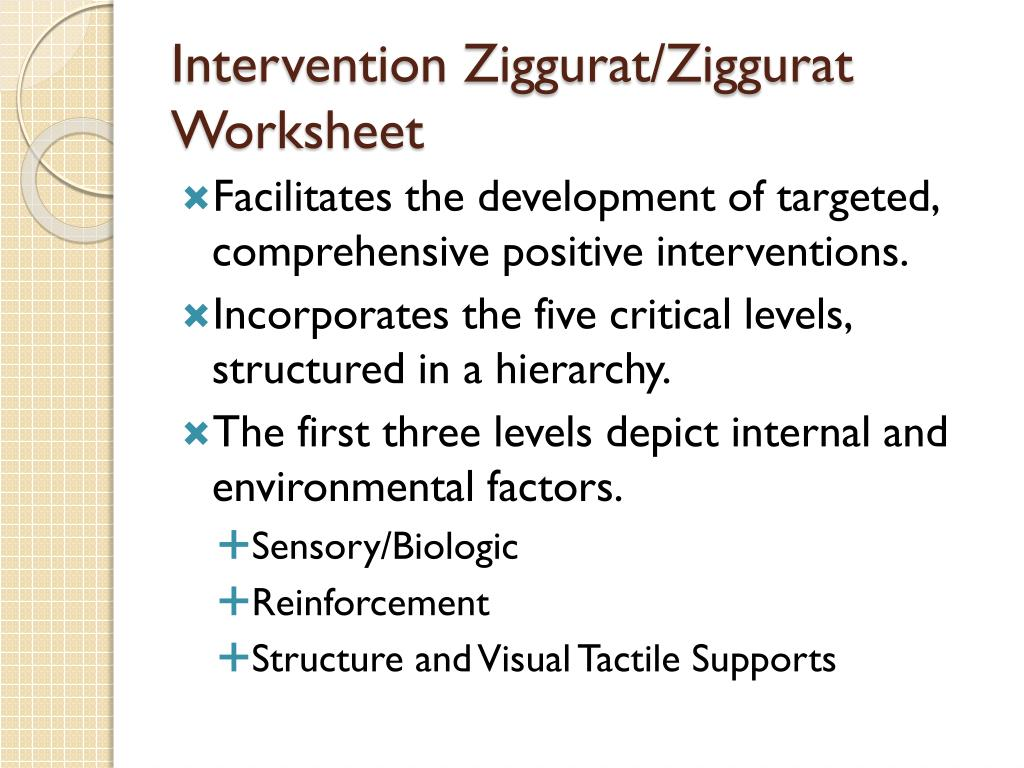 Intervention Ziggurat/Ziggurat Worksheet