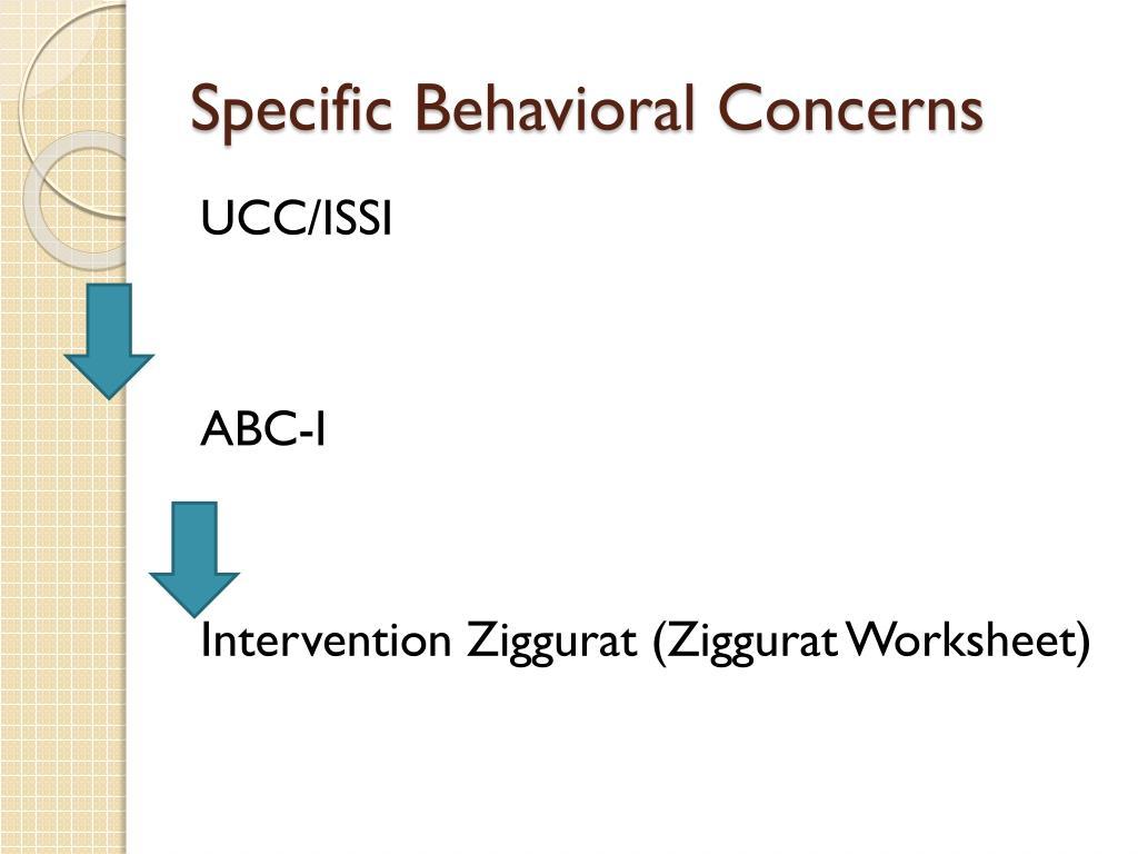 Specific Behavioral Concerns