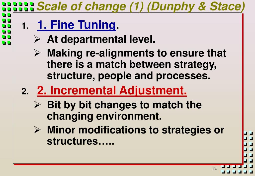 dunphy stace four type of change Distributed, transmitted or converted, in any form or by any means, electronic or   page 4  dunphy and stace distinguish between incremental changes and.