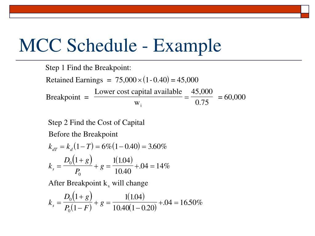 MCC Schedule - Example